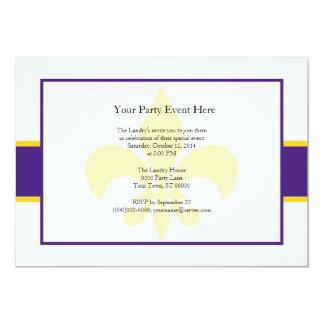 Purple Yellow Fleur de Lis Party Time 13 Cm X 18 Cm Invitation Card