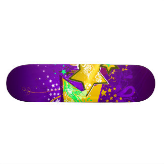 Purple & Yellow Floral Grunge Stars & Splats Skate Decks