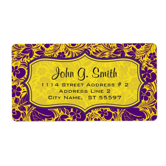 Purple & Yellow Floras And LeafsPattern-Template