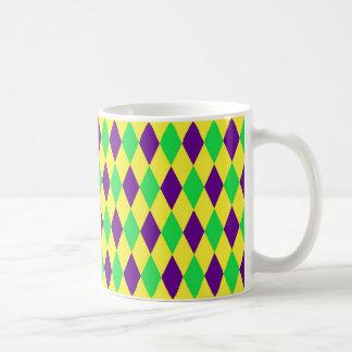 Purple Yellow Green Harlequin Pattern Coffee Mug