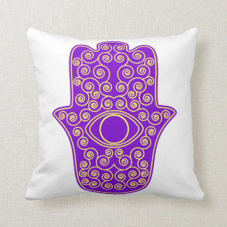 Purple Yellow Hamsa-Hand of Miriam-Hand of Fatima. Throw Pillow