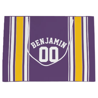 Purple Yellow Jersey Stripes Custom Name Number Large Gift Bag