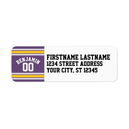 Purple Yellow Jersey Stripes Custom Name Number Return Address Label