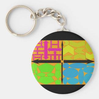 Purple,Yellow,Lime Green,Lite Blue on Orange Basic Round Button Key Ring