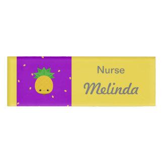Purple Yellow Pineapple Nurse Name Tag