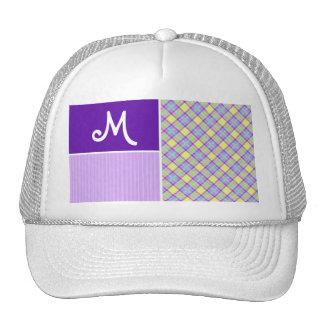 Purple Yellow Plaid Mesh Hats