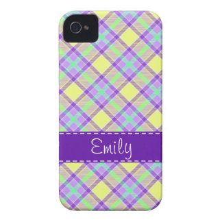 Purple & Yellow Plaid Pattern Case-Mate iPhone 4 Cases