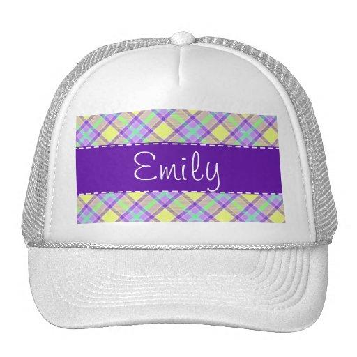 Purple & Yellow Plaid Pattern Hat