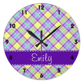 Purple & Yellow Plaid Pattern Large Clock