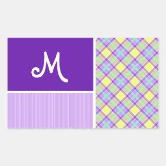 Purple & Yellow Plaid Rectangular Stickers