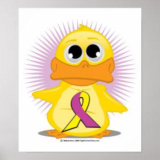 Purple & Yellow Ribbon Duck Poster