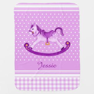 Purple yellow rocking horse art name baby blanket