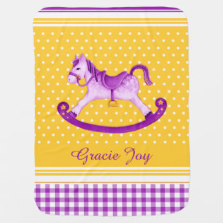 Purple yellow rocking horse art name baby blanket