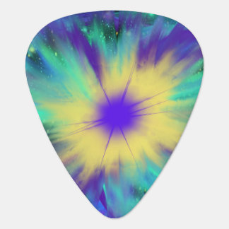 Purple Yellow Space Starburst Indie Art Design Plectrum
