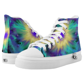Purple Yellow Space Starburst Indie Art High Tops