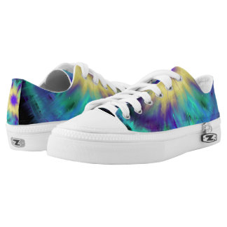 Purple Yellow Space Starburst Indie Art Low Tops