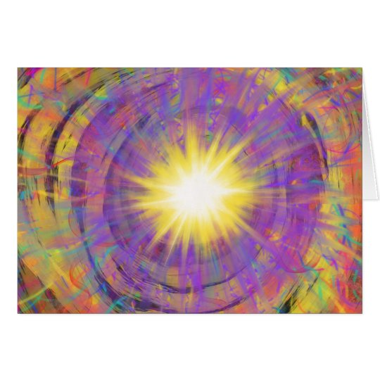 Purple Yellow Star Abstract Art Painting Design Card