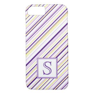 Purple & Yellow Stripe Monogram Phone Case