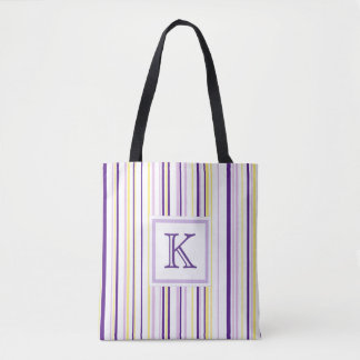 Purple & Yellow Stripe Monogram Tote Bag