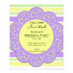 Purple Yellow Striped Party Invites 11.5 Cm X 14 Cm Flyer