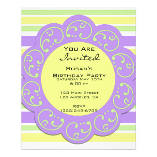 Purple Yellow Striped Party Invites 11.5 Cm X 14 Cm Flyer
