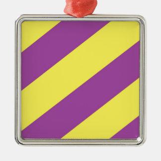 Purple & Yellow Stripes Silver-Colored Square Decoration