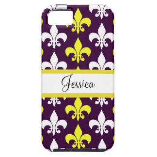 Purple, Yellow, & White Fleur de Lis Tough iPhone 5 Case