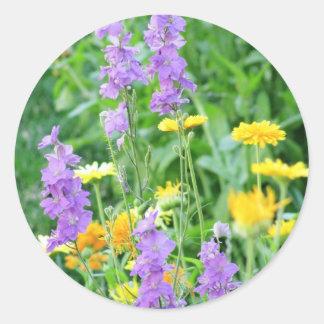 Purple & Yellow Wildflowers Round Sticker