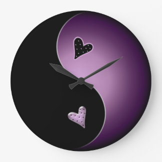 purple yin yang large clock
