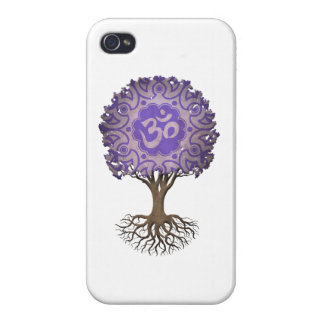 Purple Yoga Om Tree of Life iPhone 4 Cases