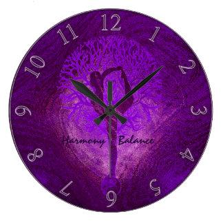 Purple Yoga Tree Clock
