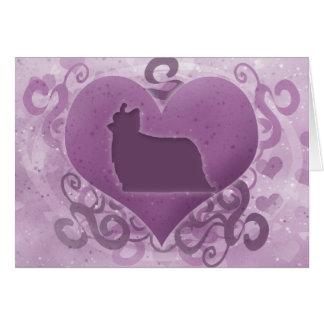 Purple Yorkie Valentine's Day Card