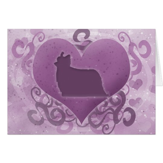 Purple Yorkie Valentine's Day Card