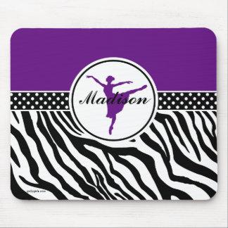 Purple Your Name Zebra Print Ballet Dancer Mouse Pad