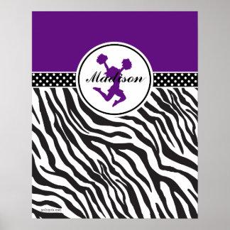 Purple Your Name Zebra Print Cheerleader / Pom