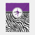 Purple Your Name Zebra Print Figure Skating Fleece Blanket