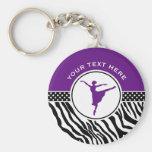 Purple Your Text Zebra Print Ballet Dancer Basic Round Button Key Ring
