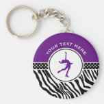 Purple Your Text Zebra Print Figure Skating Basic Round Button Key Ring