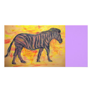 purple zebra art photo greeting card
