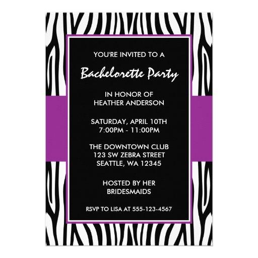 Purple Zebra Bachelorette Party Invitations