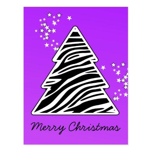 Purple Zebra Christmas Tree Post Cards
