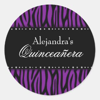 Purple Zebra Diamonds Quinceanera Classic Round Sticker