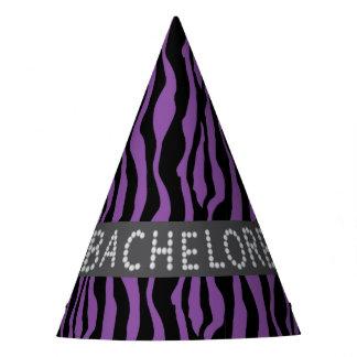 Purple Zebra Faux Diamond Bachelorette Hats