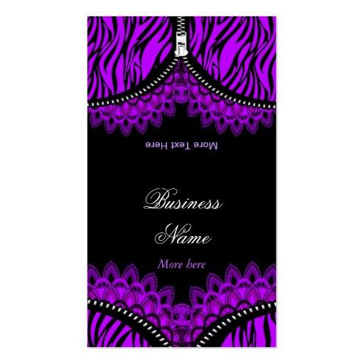 Purple ZEBRA Fold Over Black Corset Business Card Template