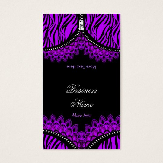 Purple ZEBRA Fold Over Black Corset Business Card