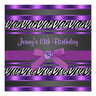 Purple Zebra Girls 13th Birthday Party 13 Cm X 13 Cm Square Invitation Card