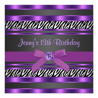 Purple Zebra Girls 13th Birthday Party Card