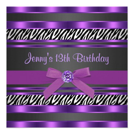 Purple Zebra Girls 13th Birthday Party Personalized Invitations