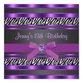 Purple Zebra Girls 13th Birthday Party Personalized Invitations