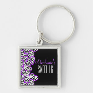 Purple zebra heart Sweet 16 Birthday Keychain